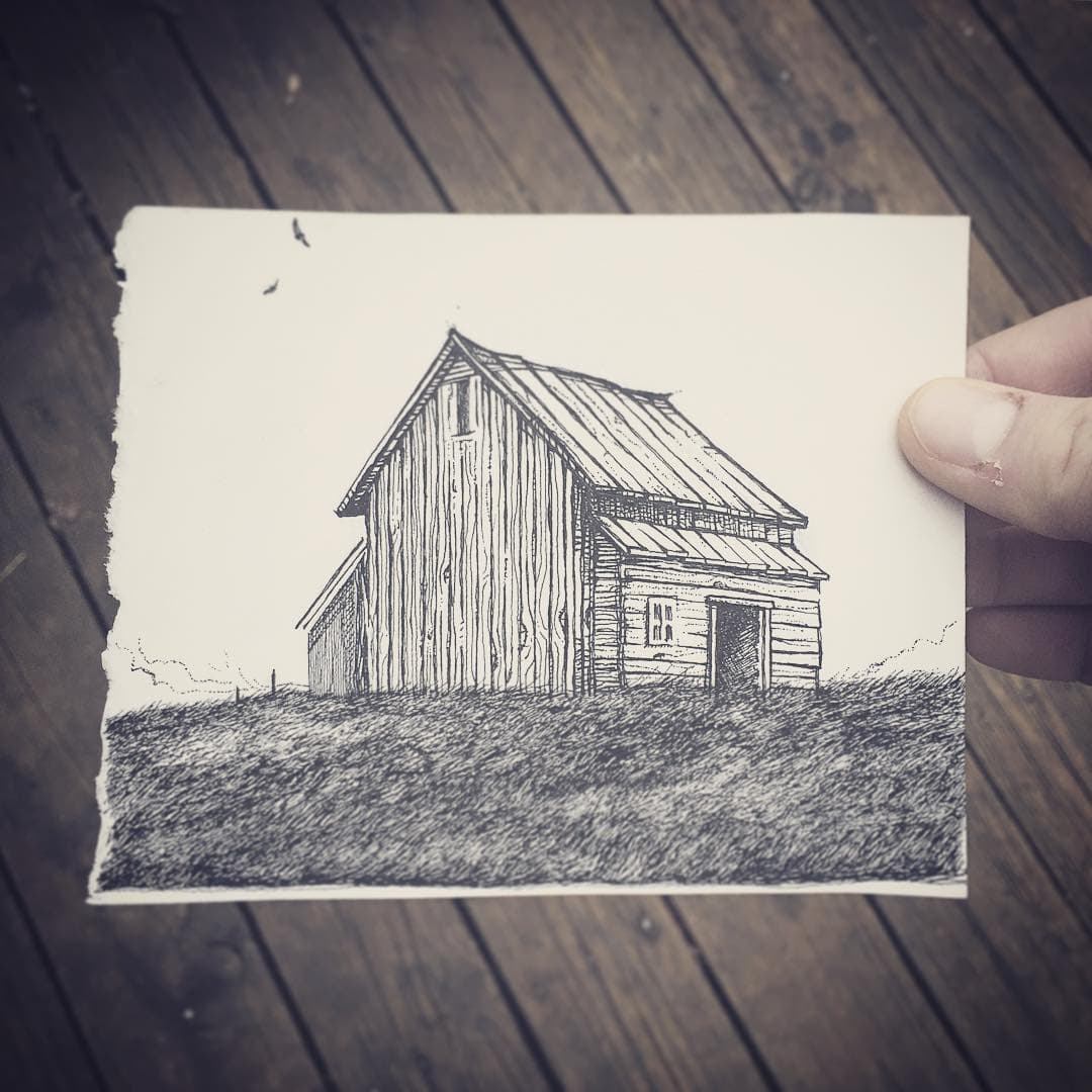 Ink drawing of a barn