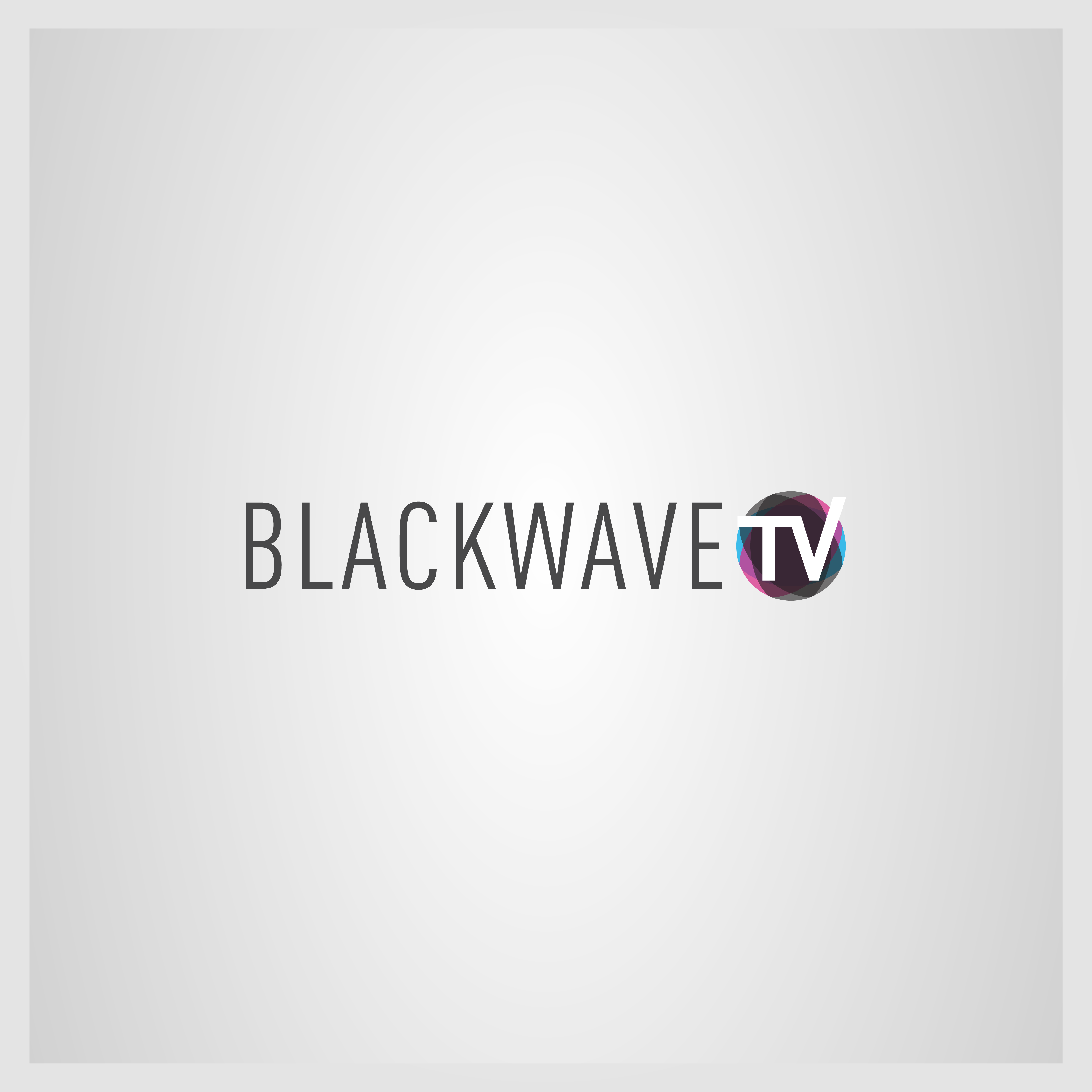 Logo treatment reading BLACKWAVE TV with TV being encircled in a faceted gem