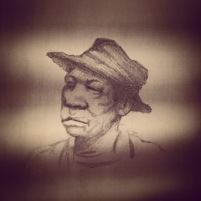 Graphite drawing of an African American man wearing a straw hat