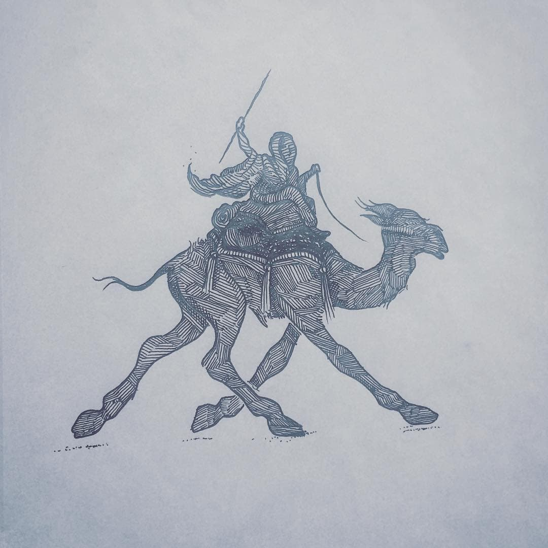 Ink drawing of a rider atop a camel with his stick drawn behind his head