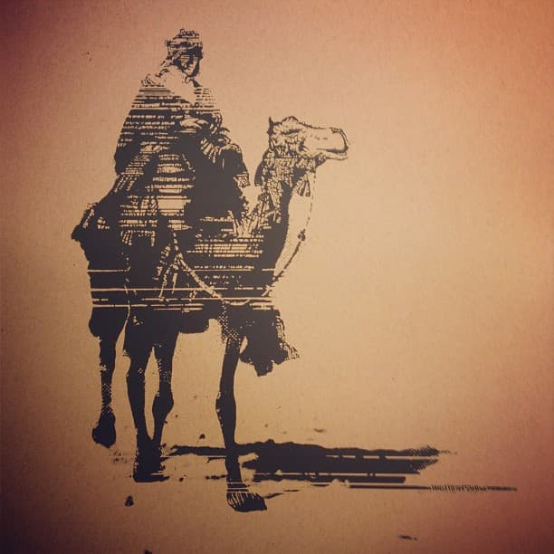 Screen print of TE Lawrence riding a camel